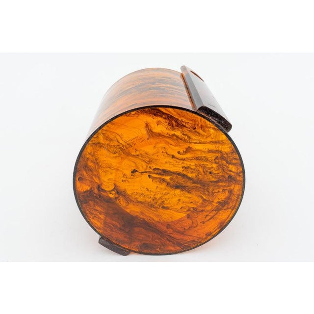 Faux Tortoise Shell, Marbleized Lucite Ice Bucket With Tongs From 1970s Italy For Sale - Image 12 of 13