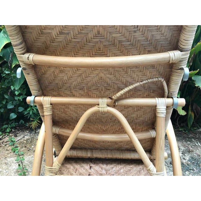 Bamboo Vintage Rattan Bamboo Adjustable Chaise Lounge Chair For Sale - Image 7 of 10