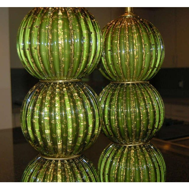 Murano Vintage Murano Glass Stacked Ball Table Lamps Bubbles Green Gold For Sale - Image 4 of 9