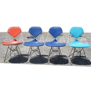 Set of Four Eames Dkr Chairs for Herman Miller With Original Girard Upholstery Preview