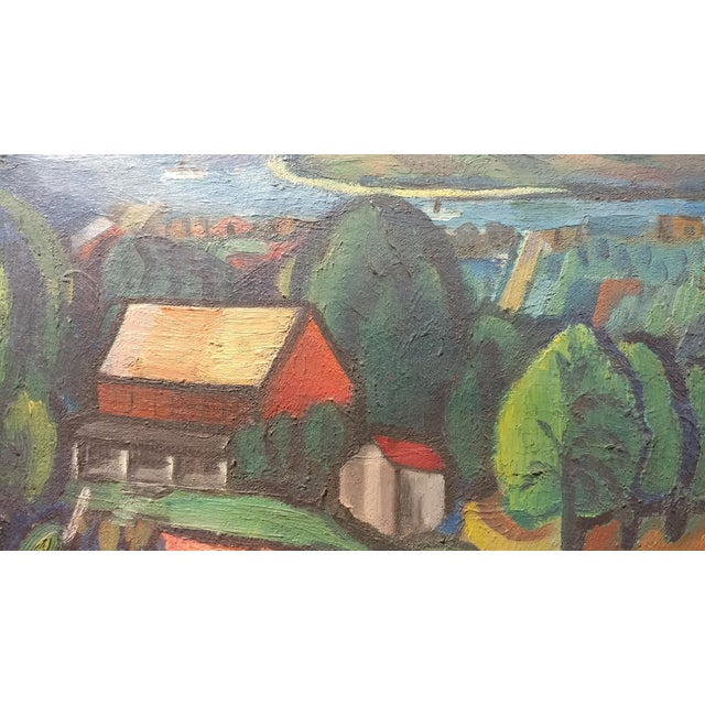 Jean Liberte - Picturesque Village Over a Lake Landscape Original Oil Painting For Sale In Los Angeles - Image 6 of 11