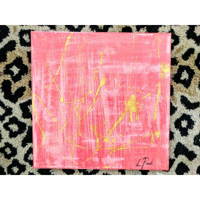 An original acrylic painting on canvas Signed by the artist Featuring hues of lime green, watermelon pink, and salmon pink