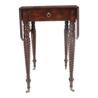 Gorgeous Maitland-Smith Mahogany Barley Twist Drop Leaf Table For Sale