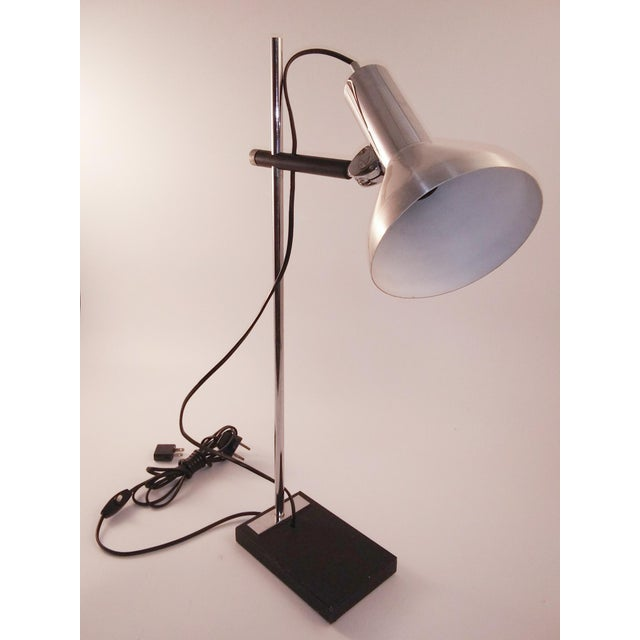 Great looking chrome desk lamp from Europe. It is well made with a good weight. Also has brushed aluminum and heavy chrome...