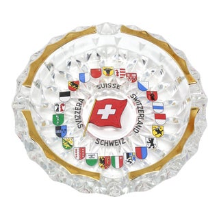 Vintage Switzerland Faceted Glass Ashtray For Sale