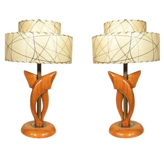 Yasha Heifetz Free-Form Oak and Brass Table Lamps, Pair For Sale