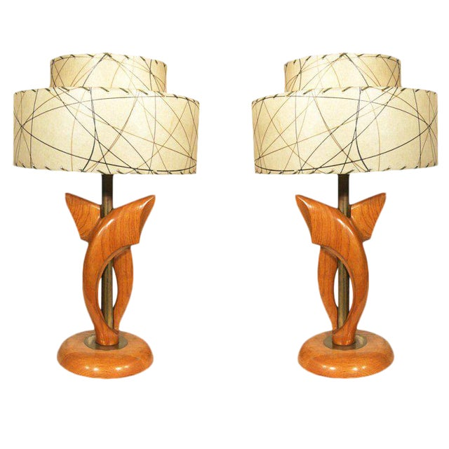 Yasha Heifetz Free-Form Oak and Brass Table Lamps, Pair - Image 1 of 7