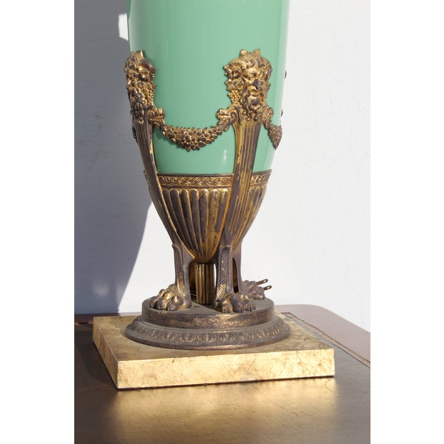 Mid 19th Century Green English Gilt Bronze Lamp For Sale - Image 4 of 11