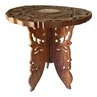 Middle Eastern Syrian Inlaid Carved Wood Table For Sale