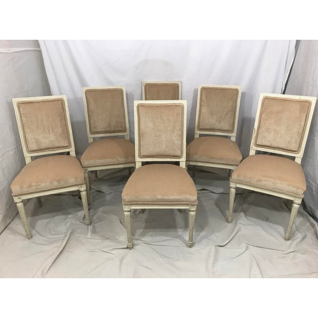 This is an assembles set of 6 plus two host and hostess chairs. Wonderfully sleek Louis XVI styling and newly upholstered...