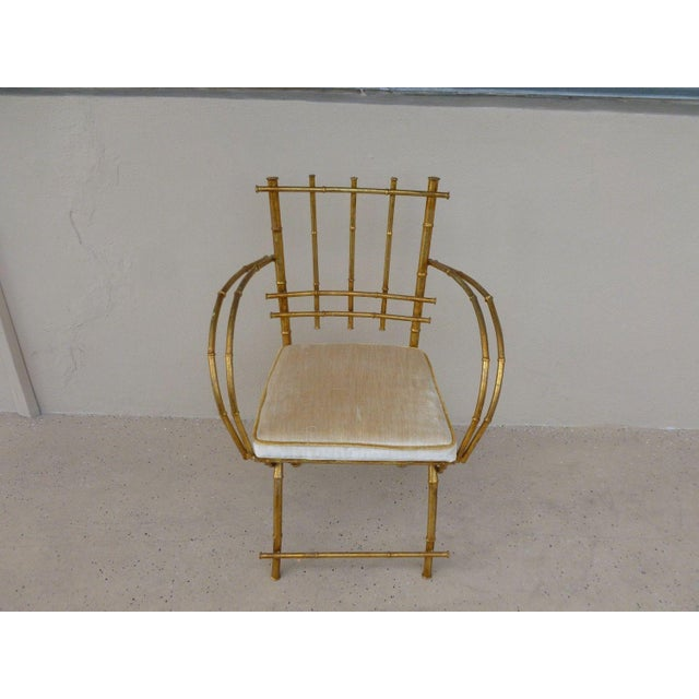 Hollywood Regency 1960s Vintage Italian Hollywood Regency Style Faux Bamboo Armchair For Sale - Image 3 of 5