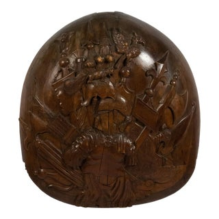 English Renaissance Walnut Military Wall Plaque For Sale