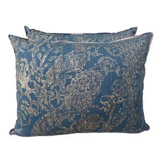 Teal and Gold Stenciled Linen Pillows - A Pair