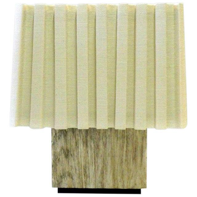 Paul Marra Modern Distressed Silvered Oak Lamp For Sale