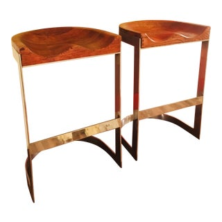 Mid Century Modern Warren Bacon Pair Chrome Sculpted Oak Bar Counter Saddle Stools- a Pair For Sale