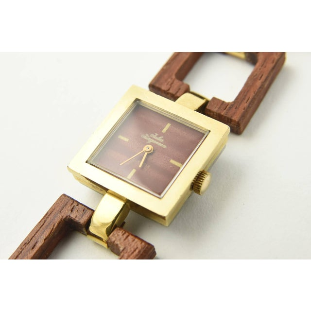 Jules Jurgensen Ladies Gold Plate Wood Mechanical Wristwatch For Sale - Image 4 of 10