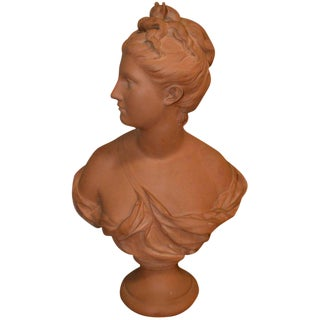Terra Cotta Bust of Diana by A. Houdon With Seal For Sale