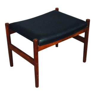 Mid Century Danish Teak Ottoman With Black Leather Cover For Sale