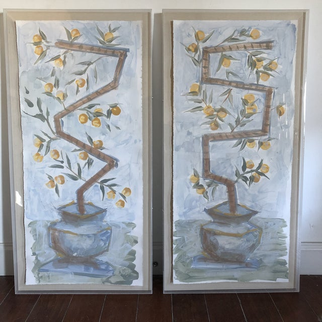 Blue Decorative Painted Panels of Orange Trees in Lucite Boxes - a Pair For Sale - Image 8 of 9