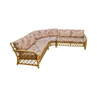Ficks Reed Vintage Rattan Bamboo Sectional Sofa For Sale