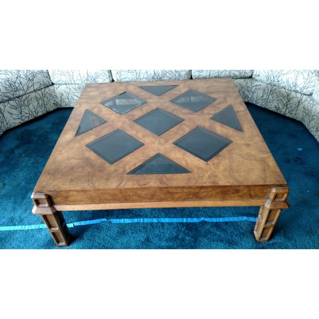 Wood Coffee Table With Smoked Glass Top Insert - Image 3 of 10