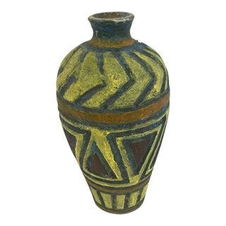 Mid-Century Italian Geometric Pottery Vase For Sale