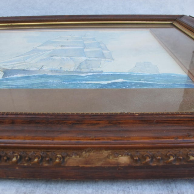 Framed Ship Watercolor Painting For Sale - Image 10 of 11