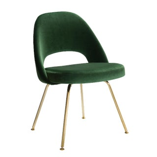 Original Vintage Saarinen Executive Armless Chair Restored in Emerald Velvet, Custom 24k Gold Edition For Sale