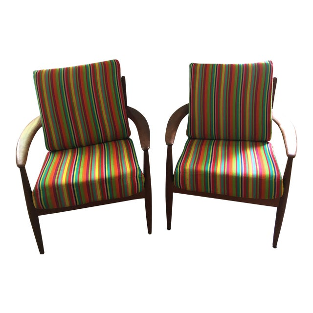 1960s Scandinavian Modern Grete Jalk Maharam Fabric Upholstered Chairs - a Pair For Sale