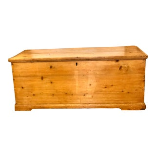 Rustic 19th Century English Pine Blanket Box or Chest For Sale