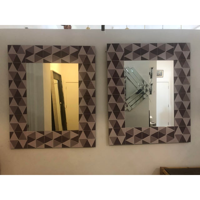 Glass Lavender and Mauve Rectangular Geometric Opaline Glass Mirror For Sale - Image 7 of 8