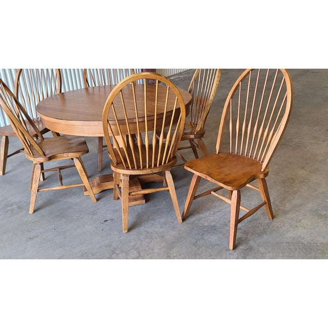 Broyhill Furniture Attic Heirlooms Dining Kitchen Set ~ Solid Oak Table W/ 6 Windsor Side Chairs For Sale - Image 11 of 13