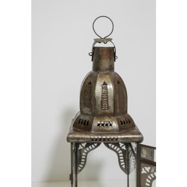 Moroccan Artist Moroccan Moorish Square Metal and Clear Glass Candle Lantern For Sale - Image 4 of 13