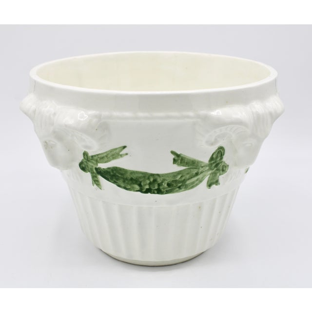 Neoclassical Italian White Rams Head Ceramic Planter For Sale - Image 3 of 8