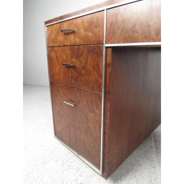 Brown Mid-Century Modern Double Pedestal Desk For Sale - Image 8 of 11