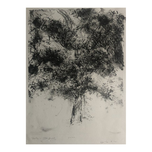 1978 Abstract Tree Lithograph by Dellas Henke For Sale