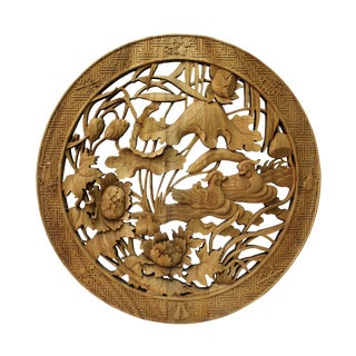 Chinese Round Flower Birds Mandarin Ducks Wooden Wall Plaque Panel For Sale