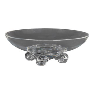 Steuben Glass Works Scroll Foot Crystal Low Center Bowl Signed Circa 1960 For Sale