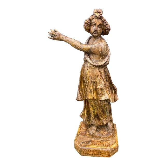 18th Century Italian Giltwood Figure For Sale