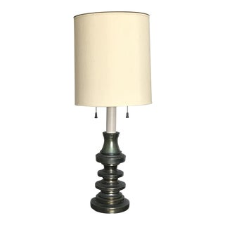 Rare Large 1950s Vintage Mid Century Modern Green Metal Table Lamp With Cream Shade For Sale