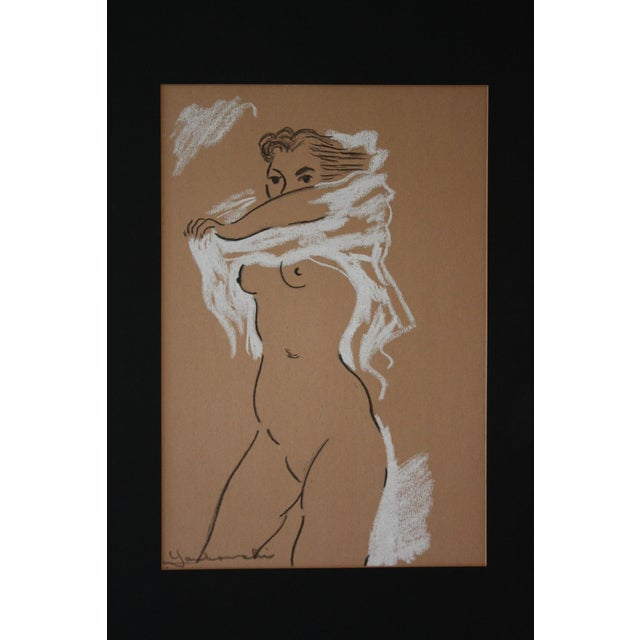 Midcentury Nude Charcoal Drawing - Image 3 of 5