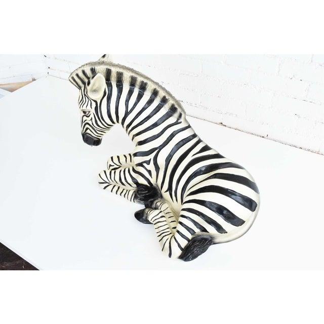 Large Italian Ceramic Zebra For Sale - Image 4 of 7