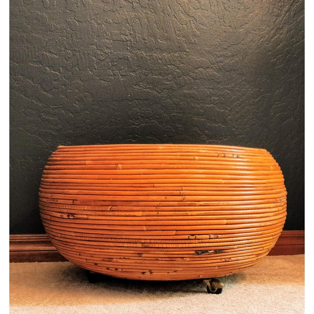 Vintage Mid-Century Crespi Style Pencil Reed Rattan Planter / Table For Sale - Image 4 of 12