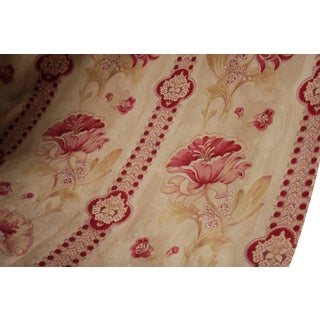 Fabric Antique French Striped Floral Furnishing Circa 1900 Cotton Heavy Weight Curtain For Sale