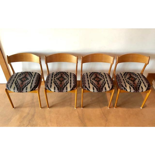 Set of 4 Mid Century Upholstered Teak Chairs Designed by ERIC BUCH. O.D. Mobler Made in DENMARK. Very sturdy + comfortable...