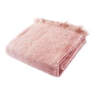 Contemporary Soft Rose Luxe Mohair Throw For Sale