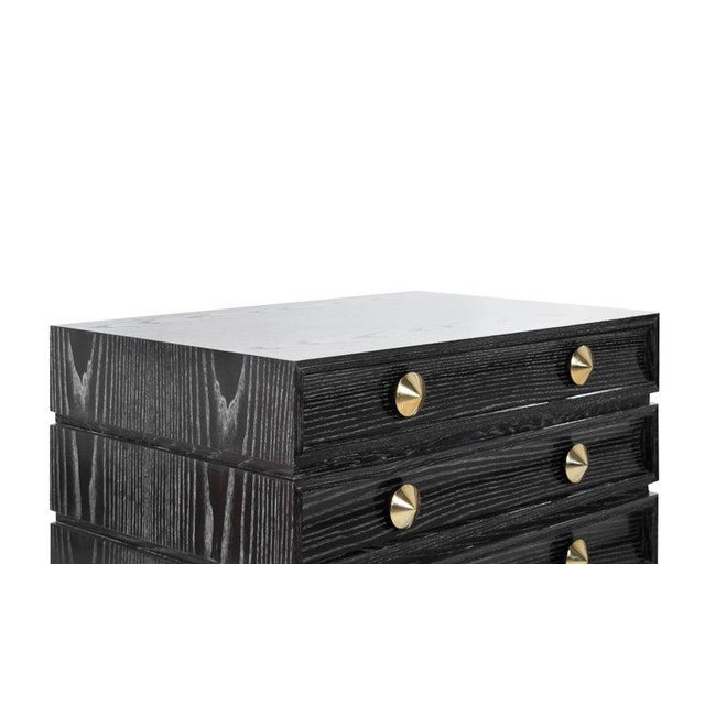 Stamford Modern's Stacked Bedside Tables in Black Ceruse - a Pair For Sale - Image 9 of 11