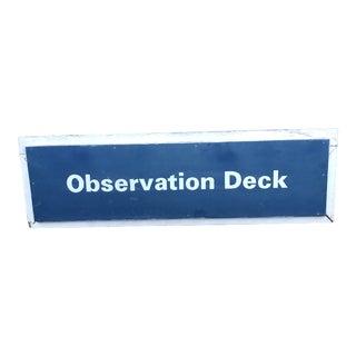 Vintage Rustic Wooden Observation Deck Sign For Sale