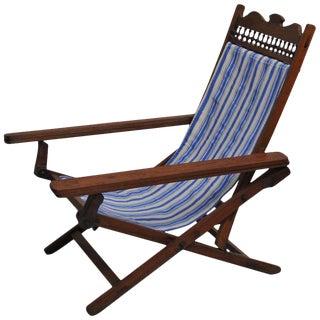 Folding, Adjustable, Sling-Back Plantation Chair With Extending Leg Rests