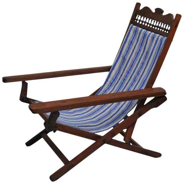 Folding, Adjustable, Sling-Back Plantation Chair With Extending Leg Rests For Sale